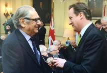 Andy receiving the Bomber Command 'clasp' from PM David Cameron